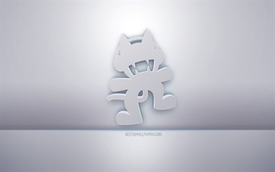 Monstercat 3d white logo, gray background, Monstercat logo, creative 3d art, Monstercat, 3d emblem