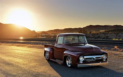 Ford F-100, purple pickup, 1956 cars, retro cars, customized F-100, tuning, 1956 Ford F-100, pickup truck, Ford F-Series, low rider, Ford F100, american cars, Ford