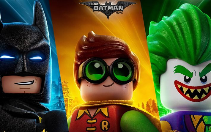 lego, 2017, animierten film, joker, robin, batman