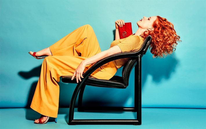 Jessica Chastain, American actress, yellow pantsuit, red-haired woman, actress