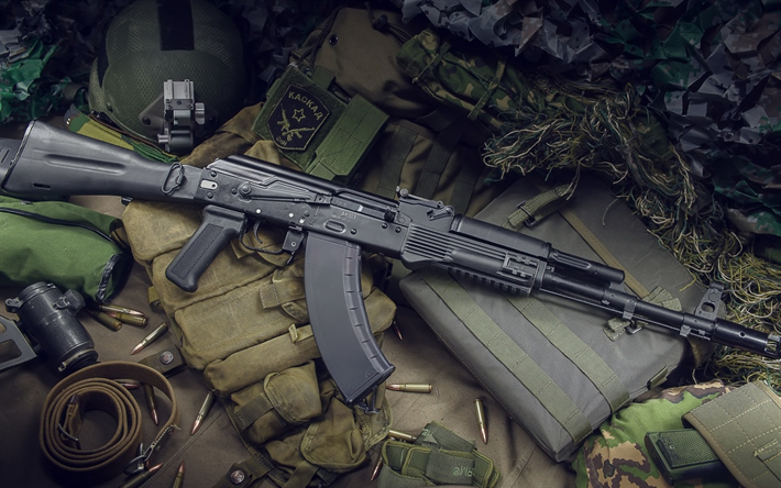 Kalashnikov assault rifle, ak-103, combat weapons, cartridges, special forces, equipment, Russian modern weapons