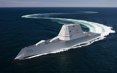 USS Zumwalt, DDG-1000, guide missile destroyers, Zumwalt class, US Navy, sea, stealth ship, USA