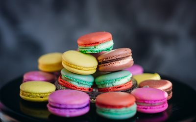 multicolored macaroons, pastries, colorful biscuits, sweets, macaroons
