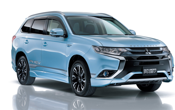 Download Wallpapers Mitsubishi Outlander Phev 2018 Electric