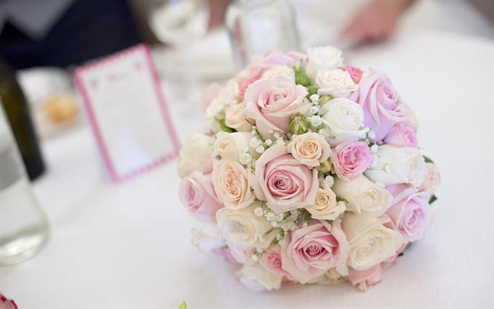 Herunterladen Hintergrundbild Hochzeit Blumenstrauss Rosa Rosen