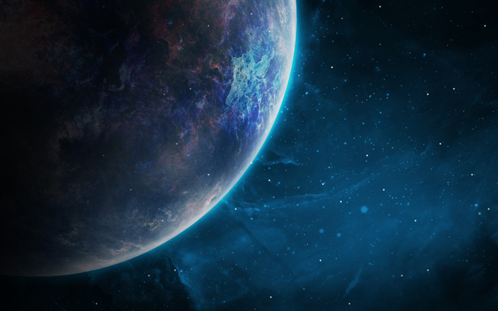 Download wallpapers planet, 4k, solar system, galaxy