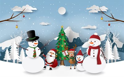 Christmas paper background, winter background, creative Christmas art, snowman, Santa Claus, deer, New Year, Christmas tree