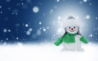 4k, snowman, snowdrifts, winter, Happy New Year, Merry Christmas, snow, Christmas