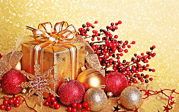 Download Wallpapers Christmas Gift Golden Box Red Christmas Balls Golden Silk Bow Merry Christmas Happy New Year For Desktop Free Pictures For Desktop Free
