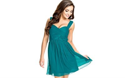 Amy Jackson, 4k, green dress, smile, make-up, beautiful woman, English model