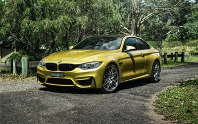 BMW M4 Coupe, 2016, F82, Gold M4, German cars, sports car, BMW