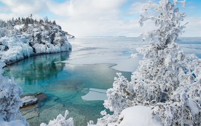 Georgian Bay, winter, coast, Bruce Peninsula National Park, Ontario, Canada