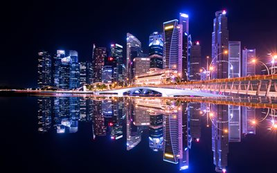 Singapore, 4k, nightscapes, modern architecture, Marina Bay at night, Asia
