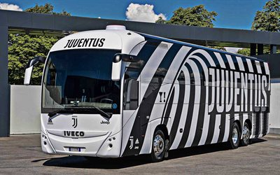 Juventus FC Bus, Italian Football Club, New Striped Bus Design, Juventus, Turin, Italy, Serie A, IVECO