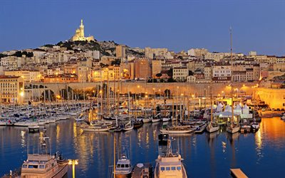Marseille, french city, sunset, port city, evening, yachts, boats, France