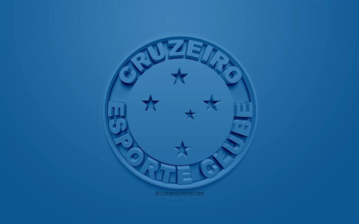 Indir Duvar Kağıdı Cruzeiro Fc Yaratıcı 3d Logosu Mavi Arka Plan