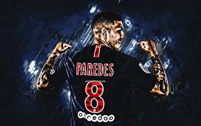 Leandro Paredes, Paris Saint-Germain, midfielder, PSG, blue stone, portrait, famous footballers, football, argentinian footballers, grunge, Ligue 1, France