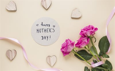 Happy Mothers Day, greeting card, bouquet of roses, pink roses, Mothers Day, beautiful flowers