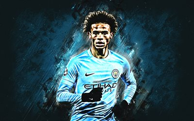 Leroy Sane, Manchester City FC, forward, blue stone, portrait, famous footballers, football, German footballers, grunge, Premier League, England