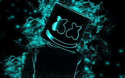 Marshmello, American DJ, turquoise smoke, black background, silhouette Marshmello, hat, creative art, Christopher Comstock
