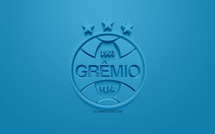 Indir Duvar Kağıdı Gremio Fc Yaratıcı 3d Logosu Mavi Arka Plan 3d