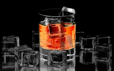 glass of whiskey, 4k, ice cubes, water, alcohol, whiskey, ice, whiskey on black backgound