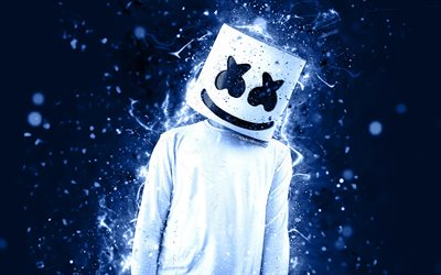 4k, DJ Marshmello, blue neon, Christopher Comstock, fan art, creative, american DJ, Marshmello DJ, superstars, Marshmello, DJs