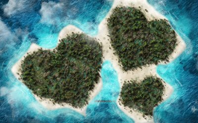 Island heart, ocean, tropical islands, love concepts, creative art, romantic islands, hearts