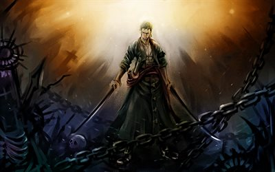 Roronoa Zoro, darkness, One Piece, manga, artwork, Pirate Hunter, One Piece characters, Roronoa Zoro One Piece