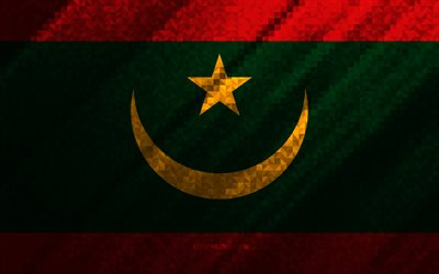 Flag of Mauritania, multicolored abstraction, Mauritania mosaic flag, Mauritania, mosaic art, Mauritania flag