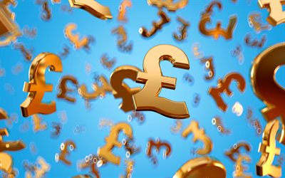 Golden Pound sign, 3d Pound sign, money symbols, background with money symbols, pound sterling, currency background, gold currency signs