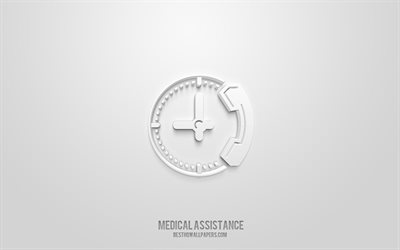 Medical assistance 3d icon, white background, 3d symbols, Medical assistance, Medicine icons, 3d icons, Medical assistance sign, Medicine 3d icons
