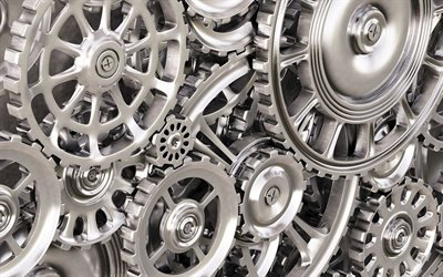 3d metal mechanism, 3d steel gears, mechanism with gears, 3d gears, background with gears
