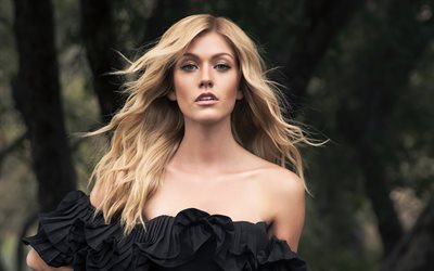 Katherine McNamara, american actress, portrait, black dress, beautiful woman, popular actresses, photoshoot