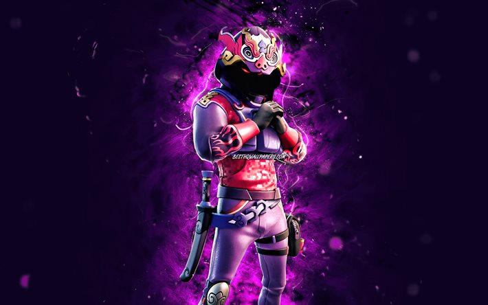 Drago del fumo, 4k, luci al neon viola, Fortnite Battle Royale, Personaggi di Fortnite, Skin del drago del fumo, Fortnite, Drago del fumo Fortnite