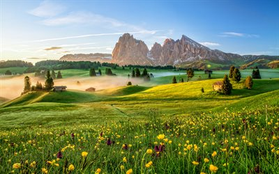 Italy, 4k, meadows, morning landscapes, mountains, Dolomites, Alps, fog, green hills, Europe, beautiful nature
