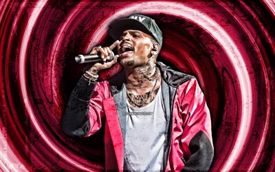 4k, Chris Brown, purple grunge background, american singer, music stars, Chris Brown with microphone, vortex, Christopher Maurice Brown, creative, Chris Brown 4K