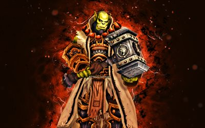 Thrall, 4k, luzes de néon marrons, World of Warcraft, Son of Durotan, WoW, monstr, World of Warcraft Shadowlands, Thrall World of Warcraft