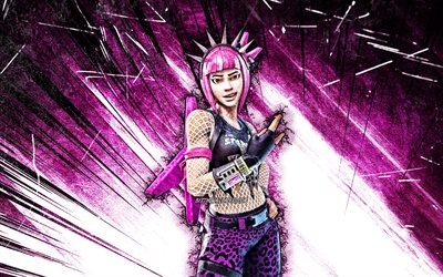 4k, Power Chord, arte grunge, Fortnite Battle Royale, Personagens Fortnite, Power Chord Skin, raios abstratos roxos, Fortnite, Power Chord Fortnite