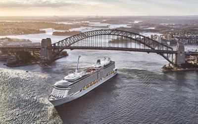 Sydney Harbor Bridge, Sydney, evening, sunset, cruise ship, steel arched bridge, Sydney cityscape, Australia