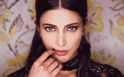 Shruti Hassan, indian actress, portrait, beautiful brown eyes, photoshoot, black dress, indian star