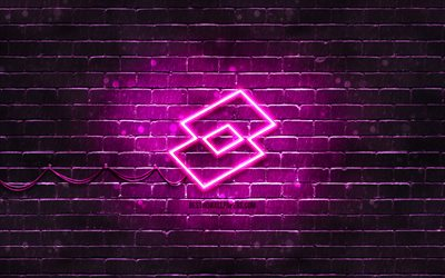 Lotto purple logo, 4k, purple brickwall, Lotto logo, fashion brands, Lotto neon logo, Lotto