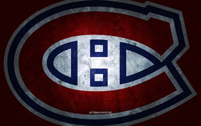 Montreal Canadiens, Canadian hockey team, red stone background, Montreal Canadiens logo, grunge art, NHL, hockey, Canada, USA, Montreal Canadiens emblem