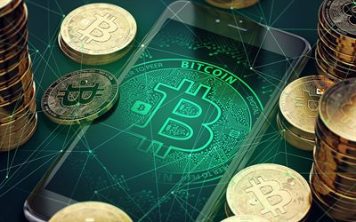 Bitcoin, smartphone, sign, crypto currency, gold coins, Bitcoin concepts, BTC