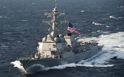 USS McCampbell, DDG-85, destroyer, US Navy, Arly Burke class, US flag, American flag, US warships, ocean