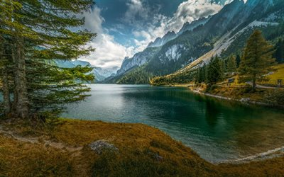 mountain lake, spring, glacial lake, Alps, beautiful mountain landscape, forest