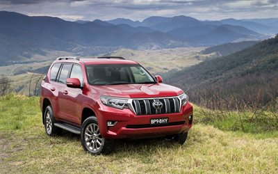 Toyota Land Cruiser Prado, offroad, 2018 voitures, red Land Cruiser Prado, Suv, Toyota
