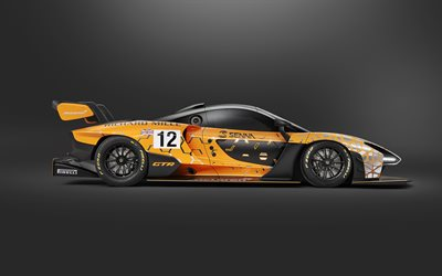 McLaren Senna GTR, 2018, racing supercar, exterior, side view, tuning, McLaren