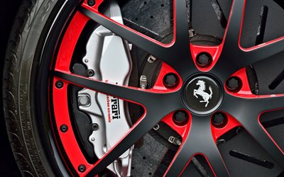 Ferrari wheels, 4k, brake, caliper, 2018 cars, wheel disks, Ferrari 599