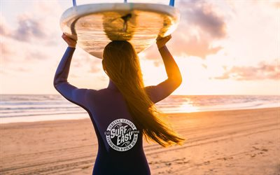 coast ocean, surfing, Pacific Ocean, sunset, evening, girl surfer, beach, waves, ocean